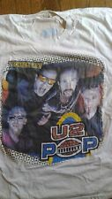 RARE ORIGINAL U2 T Shirt  POP MART Tour 97 ALT face art white with dates on back