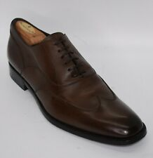 * Ermenegildo Zegna * Brown Almond Toe W/ Box Wingtip Oxford Dress Shoe 10 US