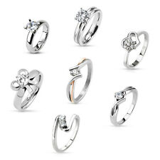 Damenring Edelstahl Solitär Ring CZ Kristalle Klar Silber Verlobungsring Ehering