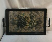 Vtg 30-40's Black Wood Glass Frame Handles Serving Tray Grapes Lithograph Print