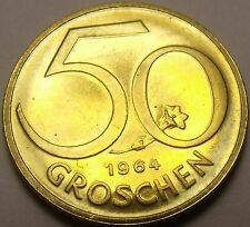 Proof Austria 1964 50 Groschen~Austrian Shield~Free Shipping