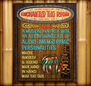TIKI ROOM Attraction Poster Print Wood Sign Plaque Prop Disney World Disneyland