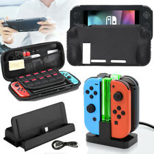 For Nintendo Switch Carrying Bag Case + Anti-Slip Silicone Cover + Charging Dock
