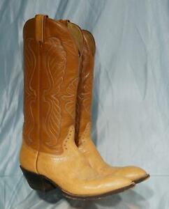 "Handsome 16"" Peanut & Caramel Bullhide Leather HONDO Western Cowboy Boots 9.5B"