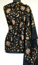 "Gold-on-Black Kashmir Wool Shawl Ari Embroidery Stole 80""x30"", Travel Paisely"