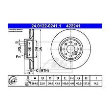2 St. ATE 24.0122-0241.1 Disco Freno Opel Adam Corsa e Corsa e Van CORSA D
