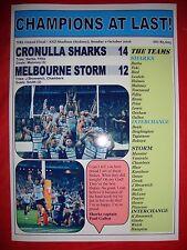 Cronulla Sharks 14 Melbourne Storm 12 - 2016 Nrl Grand Final - souvenir print