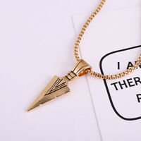 Fashion Men's Stainless Steel Arrow Pendant Necklace Chain Silver Gold Jewelry F