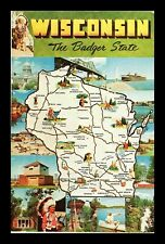 Dr Jim Stamps Us Postcard Wisconsin Badger State Map