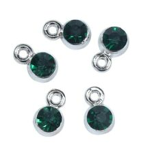 10pcs Dark green may birthstone rhinestone pendant size 9x6mm