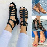 Summer Women's Strappy Sandals Crisscross Gladiator Low Flat Heel Buckle Shoes