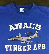 Vintage Mens 70s 80s Military Air Force AWACS Tinker Air Force Base T-Shirt XL