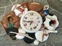 Burwood WALL CLOCK Sports 3318 Home Interiors Homco VINTAGE Works DAMAGED