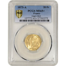 1875 A France Gold 20 Francs - PCGS MS65+  Gad-1063