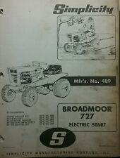 Simplicity 727 Broadmoor Lawn Garden Tractor & Implement Owner & Part Manual 24p