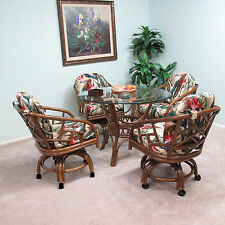 Chiba Rattan Caster Chair and Table 5 Piece Dining Set (Assembled in USA)
