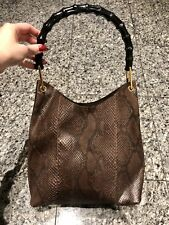 c20800b2579 GUCCI by Tom Ford Brown Snakeskin Bamboo Bag
