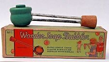 1920's-30's WONDER SOAP BUBBLER wooden bubble blowing pipe WITH box