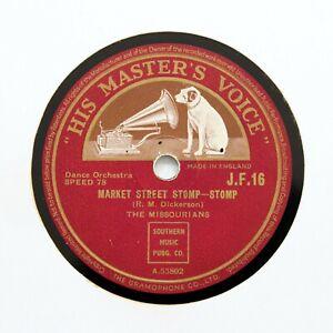 "THE MISSOURIANS ""Market Street Stomp / Missouri Moan"" (E+) HMV JF-16 [78 RPM]"