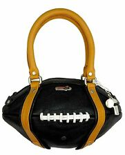 NEW Red24 Black/Gold Leather FOOTBALL PURSE Hand Bag+Whistle Saints Steelers NFL