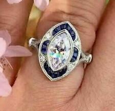 Engagement Ring 14k White Gold Over Vintage Art Deco 3Ct Diamond &Sapphire White