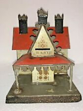 New ListingEarly American Antique George Brown Penny Toy Cottage Bank Tin 1870s 3 Chimney