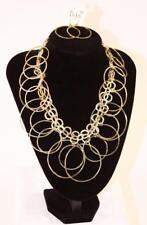 "ISIS 18"" Goldtone Multi-Hoop Necklace & Hoop Earrings Set Fashion Jewelry jxbi"