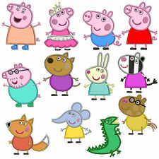 * PEPPA PIG * Machine Applique Embroidery Patterns * 12 Designs