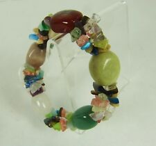 MIXED MULTI COLORED Agate Jade Style GEMSTONE BEADED STRETCH BRACELET plus Chips