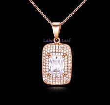 "5ct Top Emerald Cut CZ 14K Yellow GP Pendant Necklace w/ extension 16""-20"""