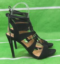 """new Black 4.5""""Stiletto High Heel Open Toe Lace Up Sexy Shoes WOMEN Size 8.5"""