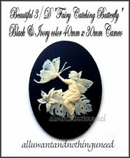 2 Ivory Color FAIRY catching a Buttterfly on Black 40mm x 30mm Craft CAMEOS