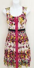 GUESS Women's Dress Sz 4 Floral Scoop Neck Pleated Sleeveless Gold Zip A-Line
