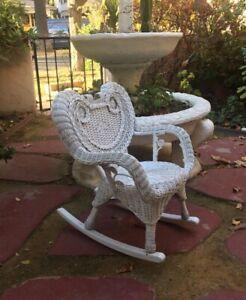 Wicker Rocking Chair White Heart Shape Victorian Style Fancy Child Kid Youth VTG