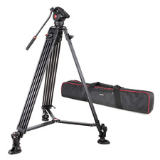 VILTROX VX-18M Professional Heavy Duty Video Camcorder Tripod with Fluid Drag He