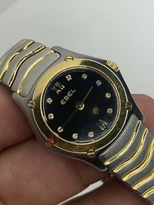 Ebel Diamond Wave 18k Gold and Stainless Steel Womens Watch E1157F11 Swiss Made