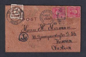 USA 1907 AUSTRIA 20K POSTAGE DUE ON SAN FRANCISCO LEATHER POSTCARD TO VIENNA