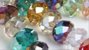 100 Pcs 8x10mm Faceted Multicolor Crystal Gemstone Loose Beads