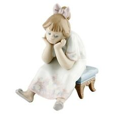"""Lladro #5649 """"Nothing to Do"""" Figurine, Young Bored Girl Sitting on Stool Retired"""