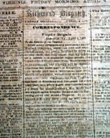 Rare CONFEDERATE Richmond VA Virginia w/ 1st Battle of Kernstown 1862 Newspaper