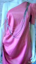 one shoulder dress hot pink one sleeve drape chain trim 16 NWT £49.99