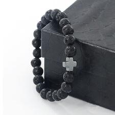 Fashion Lava Rock Gemstone Hematite Cross Energy Beaded Bracelet Yoga Jewelry