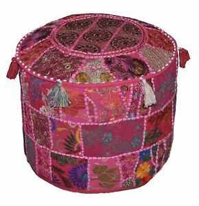 """Indian Cotton 14X22"""" Round Ottoman Pouf Throw Patchwork Vintage Footstool Cover"""