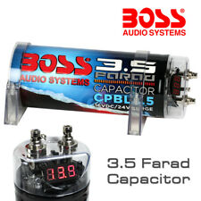 BOSS AUDIO CPBL3.5 3.5 FARAD BLUE DIGITAL VOLTAGE METER DISPLAY CAPACITOR POWER