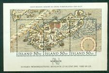 ICELAND #740 Souvenir sheet Maps, og, NH, VF, Scott $15.00