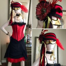 7 PC PIRATE Costume BAR MAID WENCH BROTHEL Buccaneer Steampunk CORSET Dress Mask