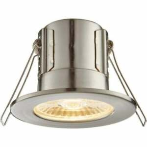 SAXBY SHIELDECO 4W 3000k Warm Downlight Satin Nickel Dimmable Recessed IP65