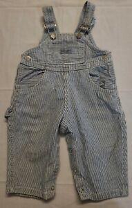 Vintage Baby GUESS? Made USA Railroad Stripe Denim Bib Overalls 9 months