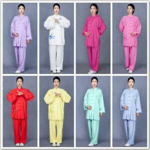 Women Tai Chi Uniform Linen Long Sleeve Embroidery Martial Arts Suit Costume
