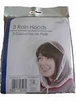 Pack of 3 Rain Hats Clear Plastic Hood Bonnet Emergency Hair Cover